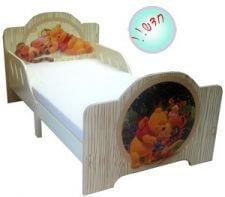 מיטת מעבר עץ לתינוק דגם פו הדב בצבע שמנת