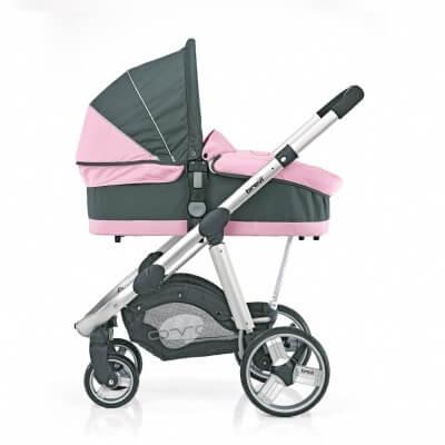 עגלת תינוק אובו Ovo מבית ברווי Brevi איטליה בצבע ורוד אפור