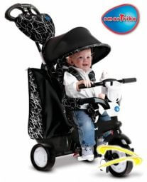 """תלת אופן סמארט טרייק שיק שחור לבןעם הטכנולוגיה החדשנית """"היגוי הנהיגה"""" המאפשרת כיוון של תלת האופן בדומה לעגלה בלי צורך לסובב את הידית*אזל המלאי."""