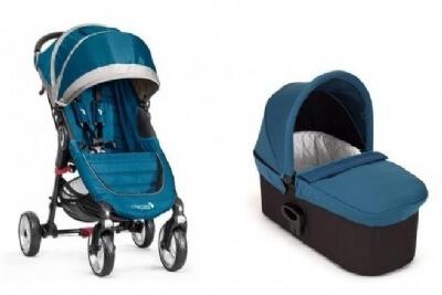 עגלת תינוק 4 גלגלים + אמבטיה דה לוקסDeluxe מבית בייבי ג'וגר Baby Jogger בצבע טורקיז