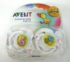 זוג מוצצי סיליקון לתינוק 0-3 חודשים מבית אוונט פיליפסAvent Philips