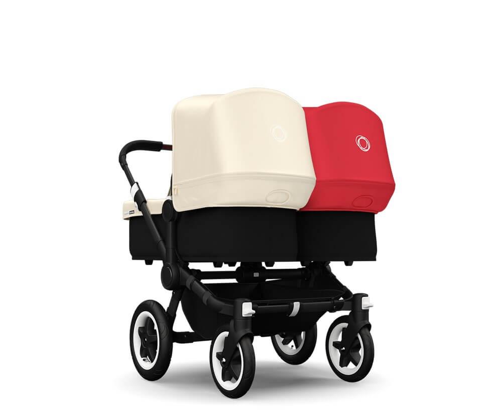 עגלת תינוק דונקי טווין לתאומים Donkey Twin מבית בוגבו Bugaboo בצבעים אדום ושמנת