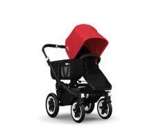 עגלת דונקי מונו לתינוק יחיד בסיס שחור בד אדום