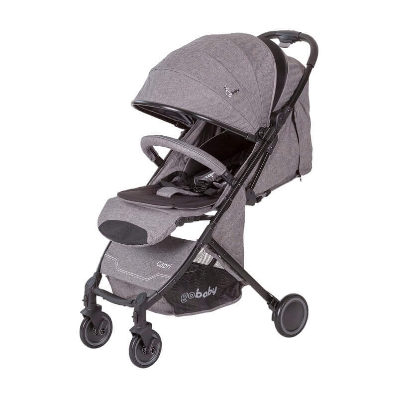 עגלת תינוק Capri גו בייבי אפור בהיר עם גגון
