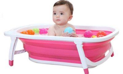 אמבטיה מתקפלת לתינוק בצבע ורוד