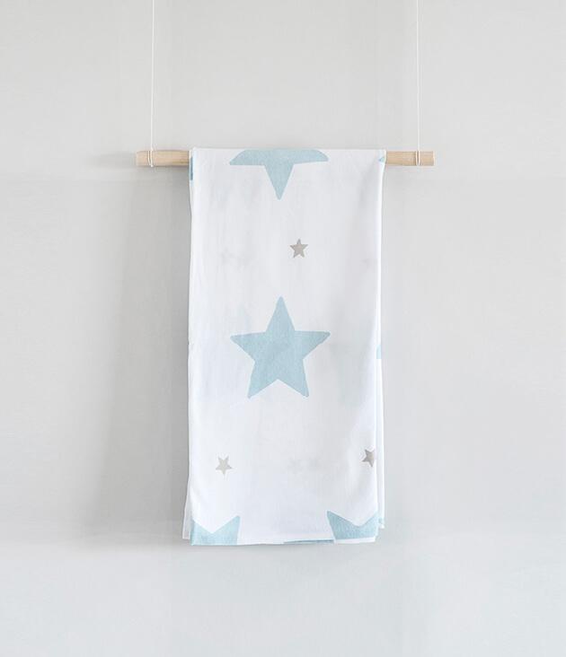 שמיכת ג'רזי כוכבים-גדולים-כחולים
