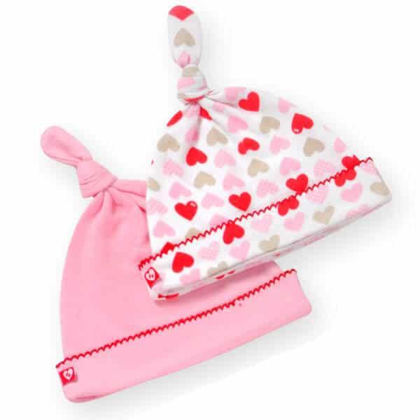 סט כובעי טריקו לתינוק לבבות ורוד