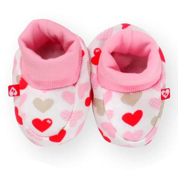 נעלי טריקו ורוד לבבות לתינוק