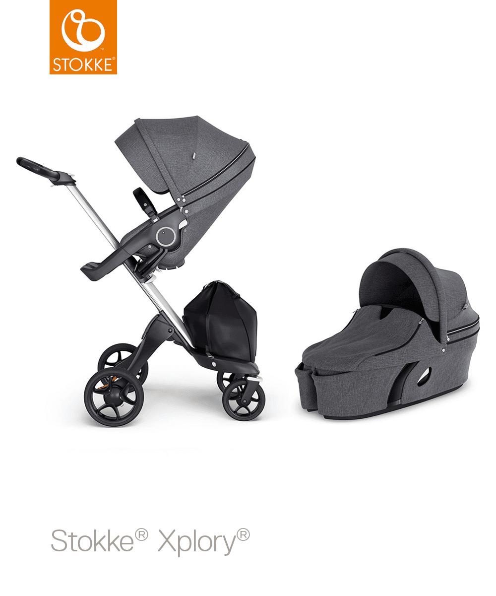 עגלת תינוק סטוקי אקספלורי V6 בצבע שחור מלאנז'