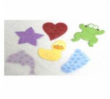 דמויות צבעוניות נדבקות לאמבטיה למניעת החלקה