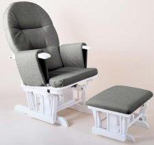 כורסת הנקה מפוארת קומפורט ריקליינר Comfort Recliner מבית בייבי סייף Baby Safe בצבע אפור עץ לבן