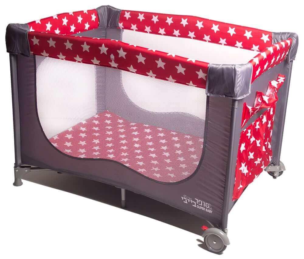 לול קמפינג / מיטה ניידת לתינוק מבית סופר בייבי Super Baby כוכבים בצבע אדום