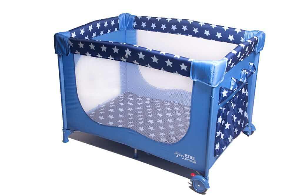 לול קמפינג / מיטה ניידת לתינוק מבית סופר בייבי Super Baby כוכבים בצבע כחול