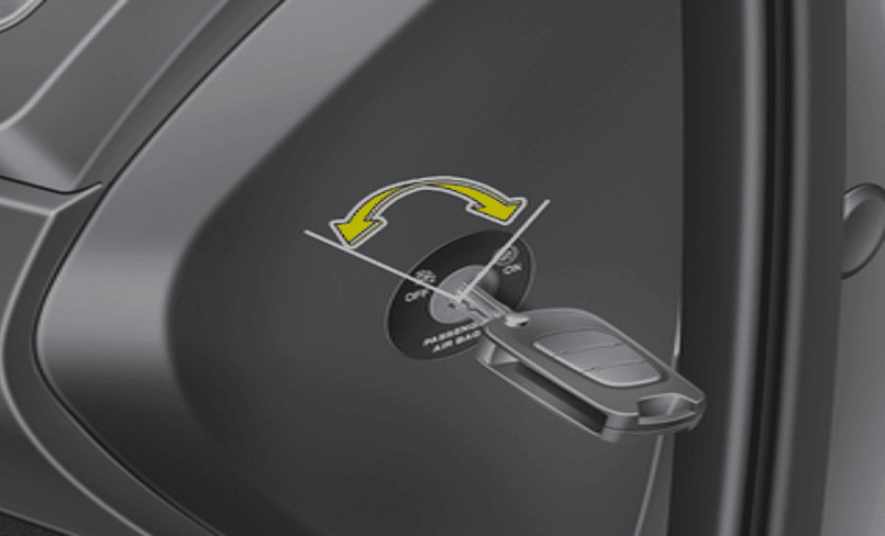 נטרול כרית אוויר בצד הדלת של הנוסע משמאל להגה לצורך התקנת כיסא בטיחות